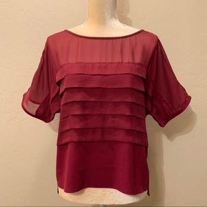 HELMUT LANG Red Silk Tiered Blouse Top